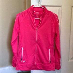 Hot pink golf jacket with white trim!